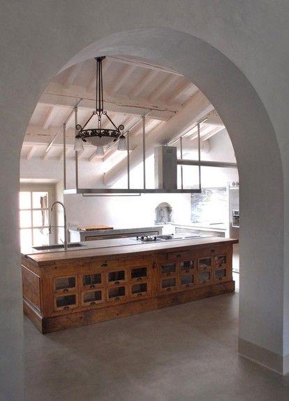kitchen island, wooden table