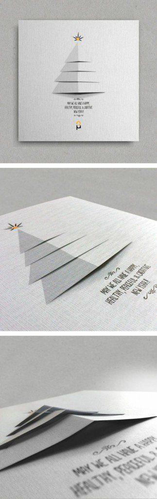Schöne Weihnachtskarten selber basteln grau tannenbaum