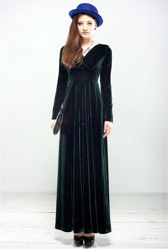 Green Long Sleeve Velvet Maxi Dress  Sleeve Long sleeve and Maxis