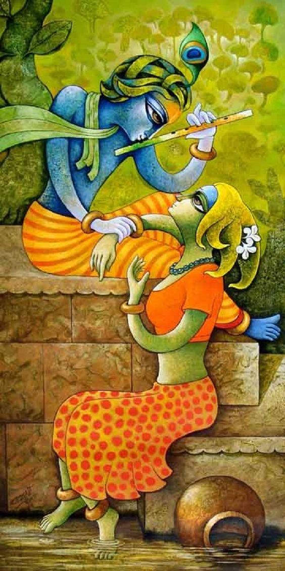 Krishna beautiful paintings and lord on pinterest for D murali krishna ias