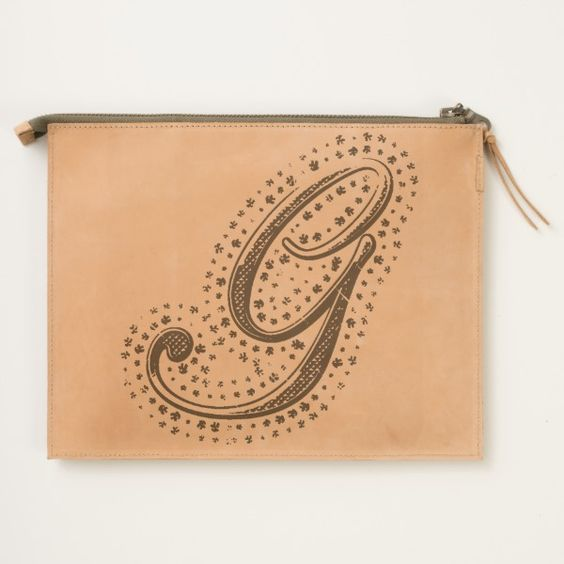 #custom #Cute Themed #gifts #hearttravelpouch #esoticadesigns -  Monogram G Leather Travel Pouch