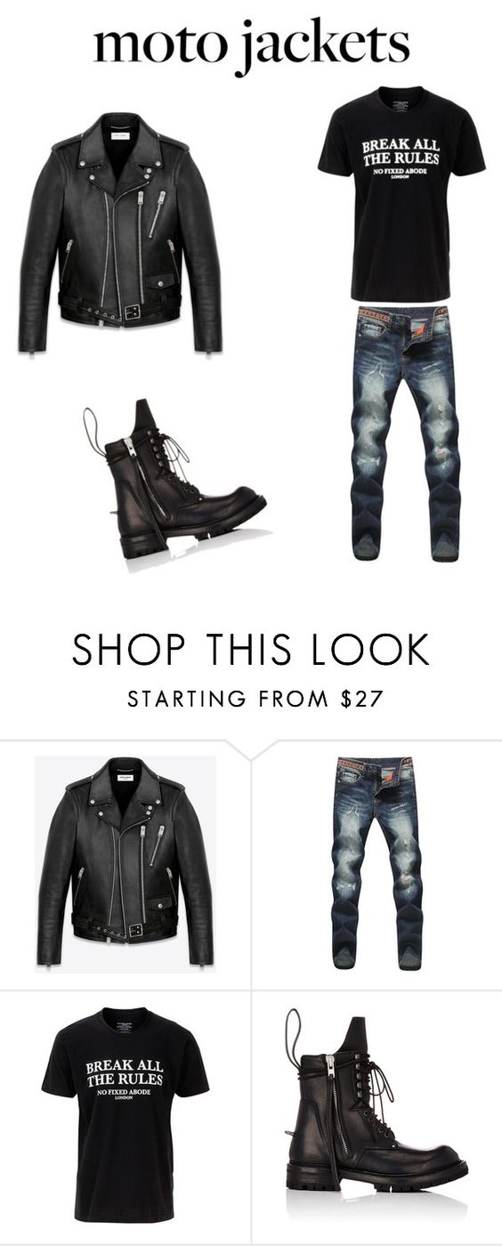 """""""man moto"""" by me9961203 ❤ liked on Polyvore featuring Yves Saint Laurent, No Fixed Abode, Rick Owens, men's fashion and menswear"""