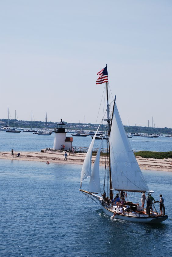 Old Glory waves in the breeze atop a sailboat in Nantucket... ~ (coastal 4th of July, seashore, beach, Independence Day, July 4th)