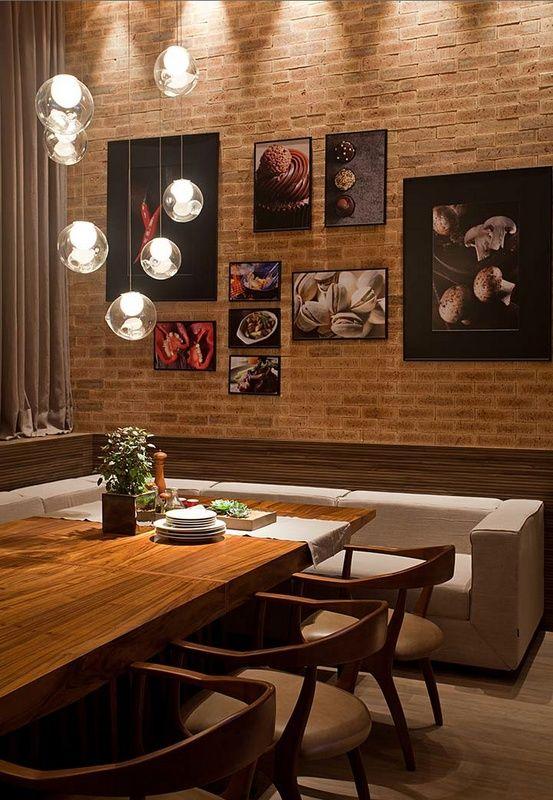 tijolo à vista sala de jantar
