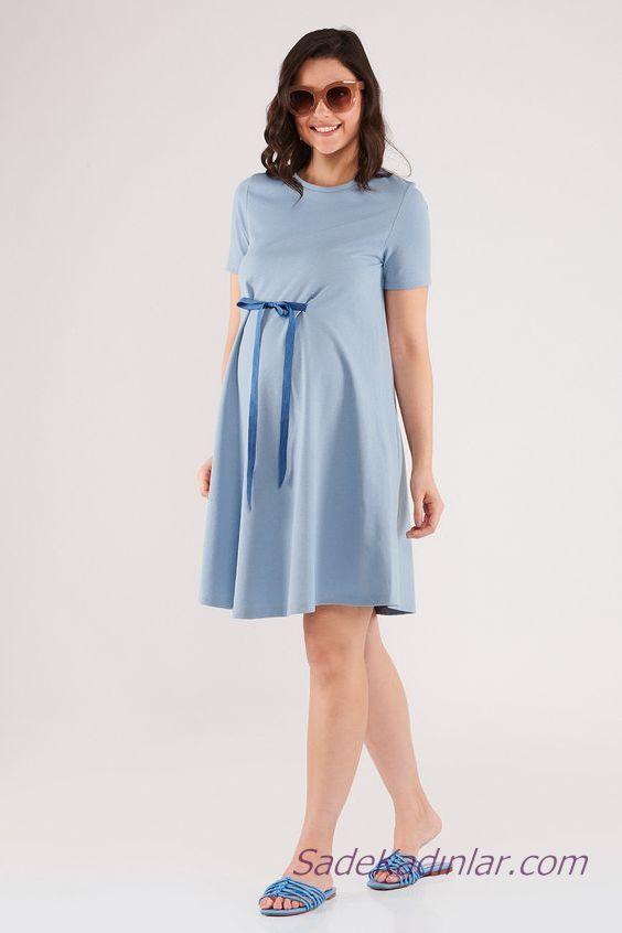 2020 Yazlik Hamile Elbiseleri Mavi Kisa Belden Kurdela Fiyonklu Kisa Kollu Sade Elbise Moda Stilleri Elbiseler