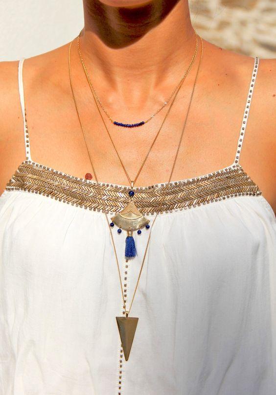 Collier long triangle en laiton brut (doré) & perles de Lapis Lazuli, bijou ethnique: