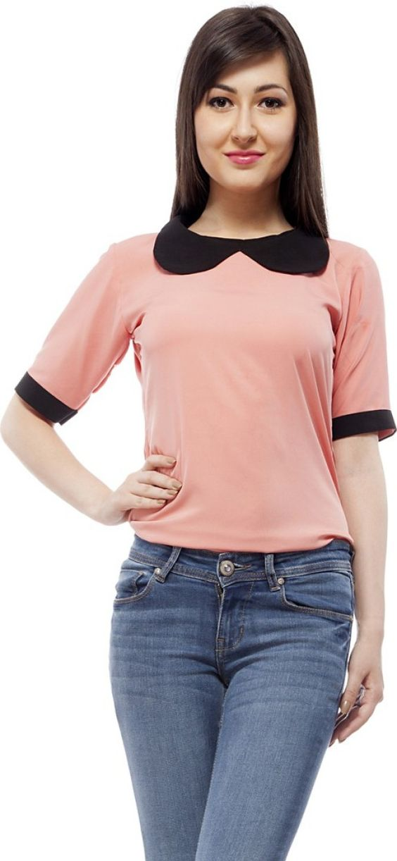 PrettyPataka Casual Short Sleeve Solid Women's Pink, Black Top