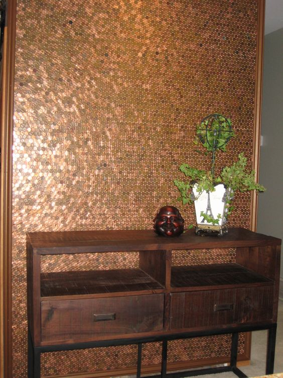 The penny wall i helped barbara barrett with this for How to make a penny wall