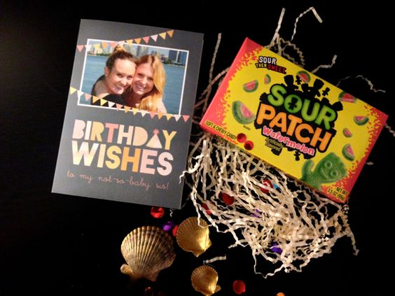 "Some Blissful Thinking blog made this little birthday care package for her ""not-so-baby sis."" It's a double dose of sweetness. @Avery Johnson"