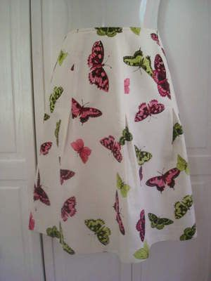 Talbots Woman Petites Ivory Butterfly Print Skirt 16W Cotton Silk Blend