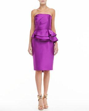 Badgley Mischka Sleeveless Ruffle Peplum Dress #Bridesmaid