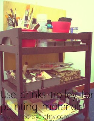 use drinks trolley for painting materials #TheArtsyCraftsy