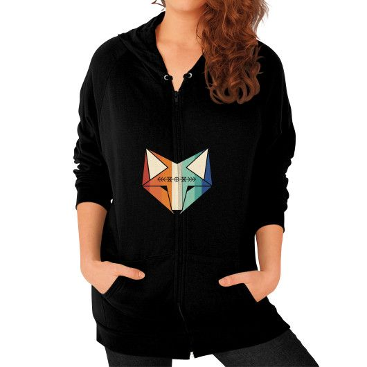 Colored geometric native fox art Zip Hoodie (on woman)