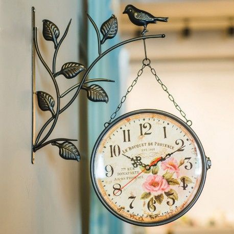 Antique Double Sided Wall Mounted Hanging Clock Home Outdoor Hallway Wall Clock Hanging Clock Wall Clock Diy Clock Wall