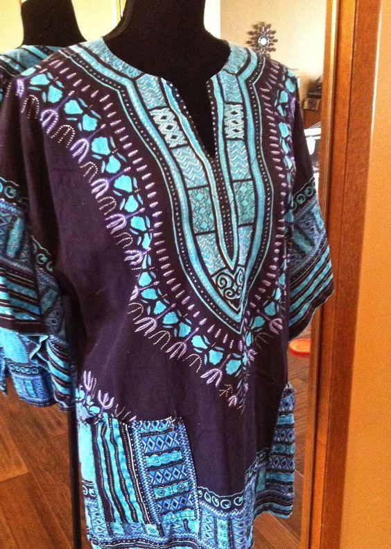 BOHO hippie Vneck shirt/blouse  Blue & by HootenAnniesHideaway, $24.39
