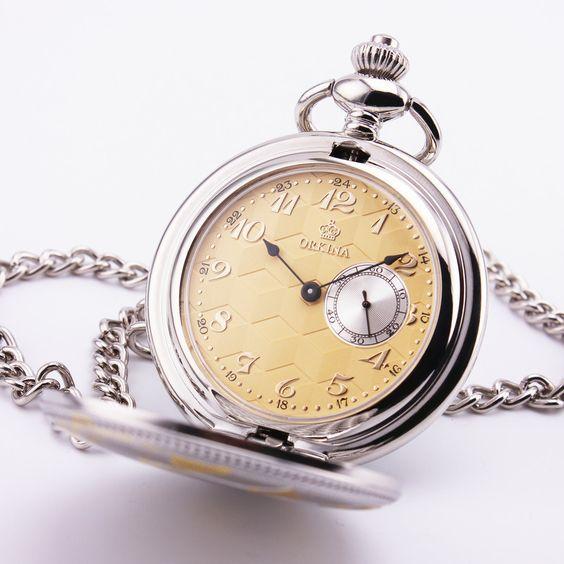 ORKINA Retro Pocket Watch Big Number white yellow Dial Rhombic Pattern Silver Case Simultaneous Sub-dial Men Pocket Watch Quartz