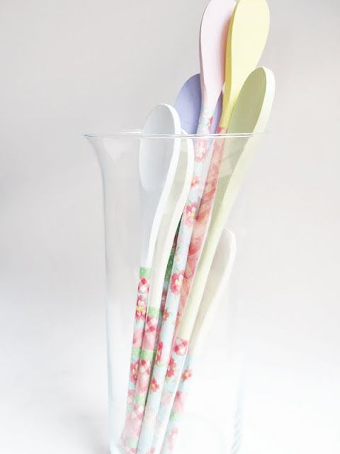 washi taped painted wooden spoons