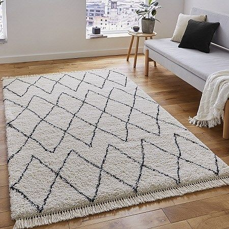 Boho Rugs 8280 White Black Prices From 99 Available In 2 Sizes Medium And Large Free Uk Delivery Black Boh In 2020 White Rug Bedroom Boho Rugs Bedroom Boho Rug