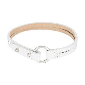 Bracelet souple cuir et acier inoxydable blanc et coloris argenté