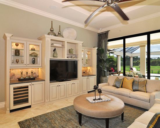 Traditional Living Room With Entertainment Ideas Also Light Gray Wall Color Floral White Tv Cabinet And Couch