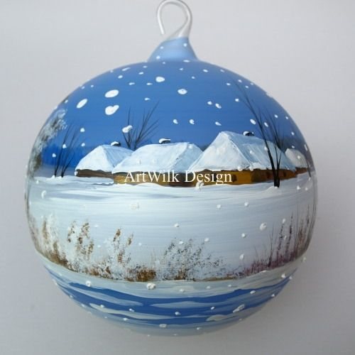 Christmas balls hand painted and hands on pinterest for Glass christmas ornaments to paint