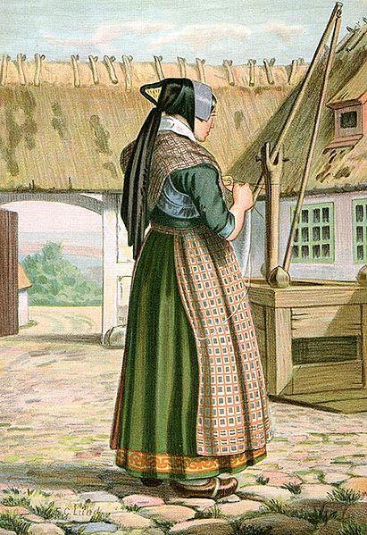Woman's #folkdress from #Haudrup #Denmark - Artist: #FCLund: