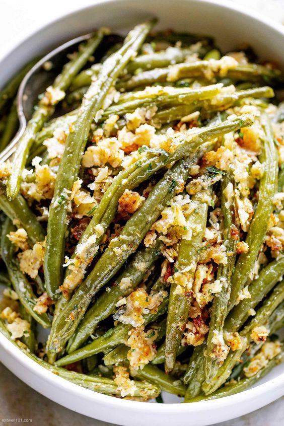 Roasted Garlic Parmesan Green Beans