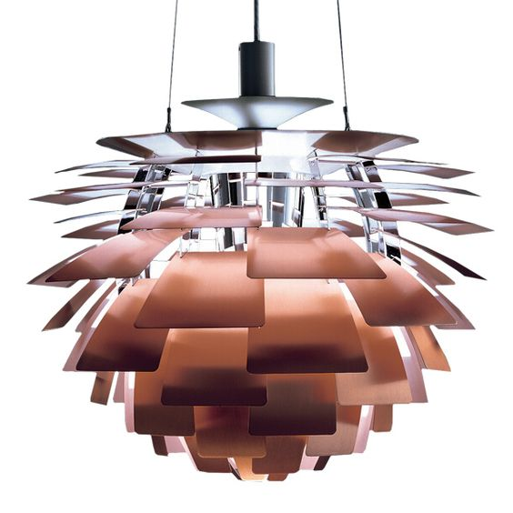 PH Artichoke pendant was designed by Poul Henningsen over 40 years ago. The lamp has become a design icon and is one of Poul Henningsen's most famous lamps. The pendant lamp has 72 copper leaves, forming 12 unique rows of six leaves each. The leaves are positioned so as to provide totally glare-free light from any angle. Manufacturer: Louis Poulsen. Want.