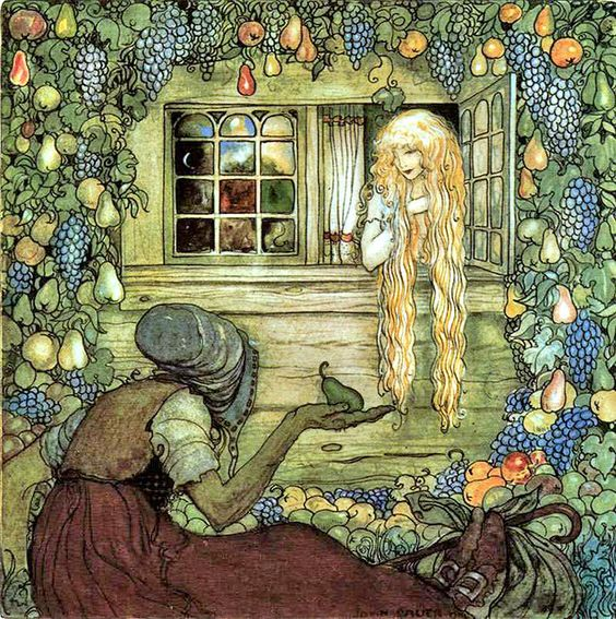 "Alvida's Window, by John Bauer. ""Alvida did not touch any of the fruit herself. She let it fall, piece by piece, and tired and thirsty travelers came along, picked up a pear or an apple, and blessed the gift."""