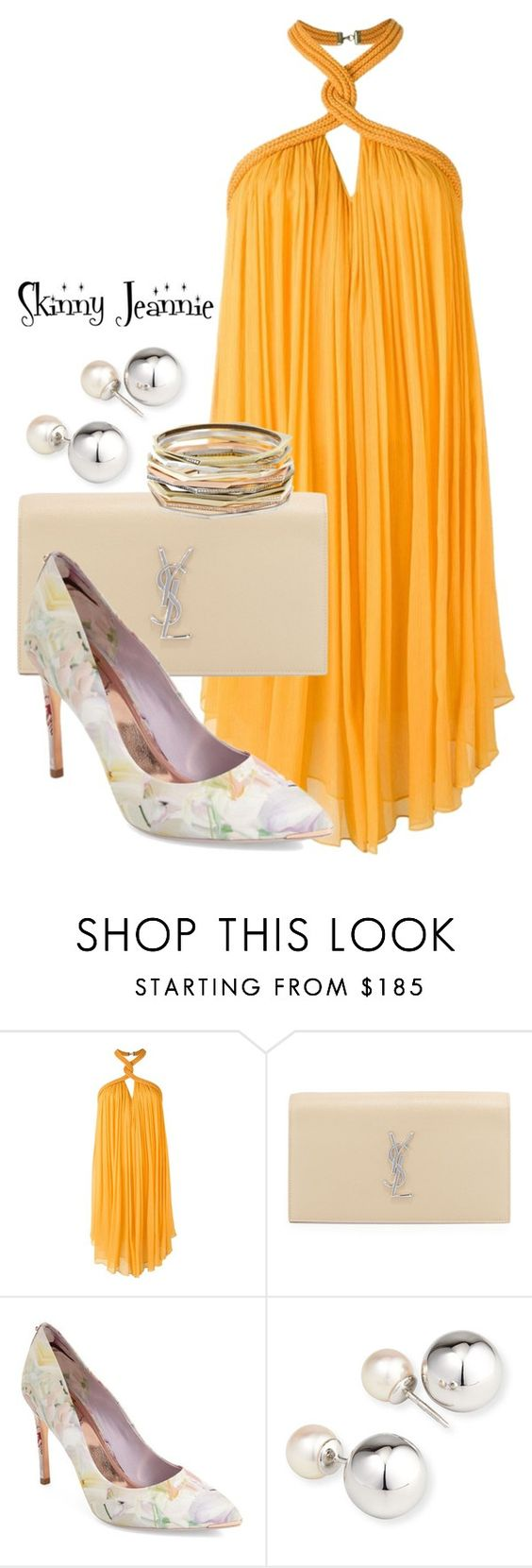 """""""Untitled #1934"""" by skinny-jeannie ❤ liked on Polyvore featuring Jay Ahr, Yves Saint Laurent, Ted Baker, Yoko London and Kendra Scott"""