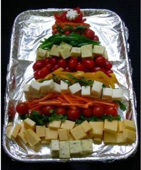 Christmas tree holiday food ideas cheese plate veggie - Christmas tree shaped appetizers ...