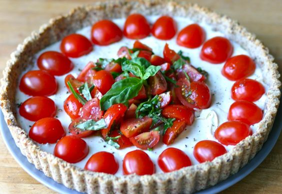 goat cheese tart with basil and tomato