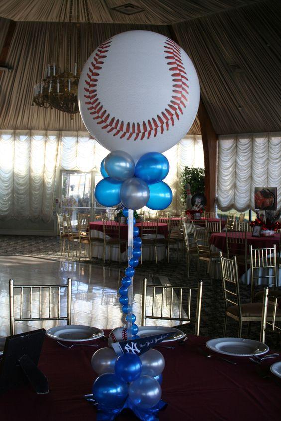 Sports themed balloon centerpieces decor