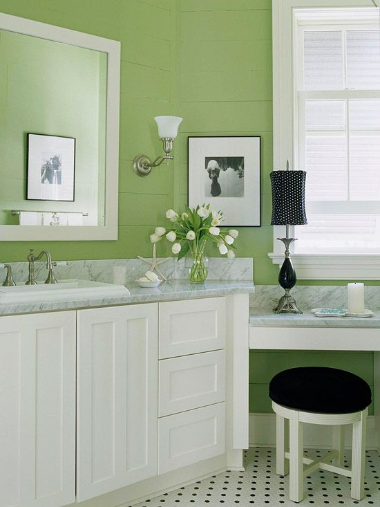 Freshen your bathroom with low cost updates green colors - What color to paint bathroom walls ...