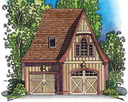 Plan 43038pf picturesque stick style garage cottages for Vintage garage plans