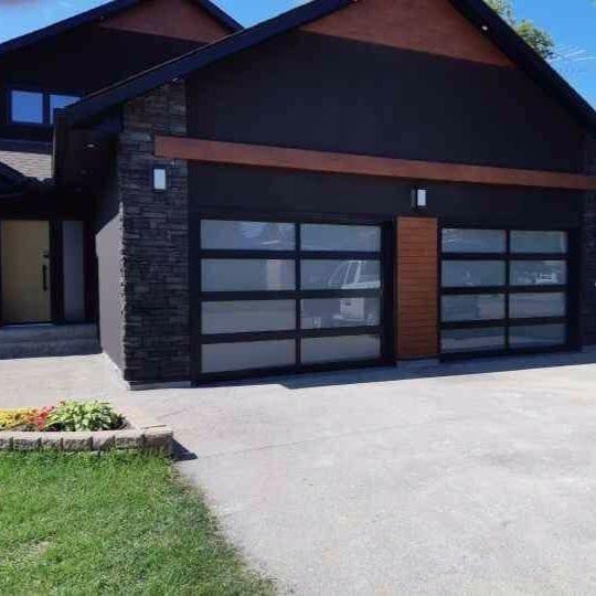 Full View Aluminum Garage Doors By C H I Garage Doors Modern Garage Brick Siding
