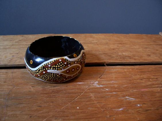 Painted Tribal Bangle Wooden Bracelet by SlopingBarnVintage, $14.00