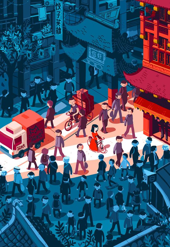 A late afternoon in a Shanghai street. Illustration for Uzbek & Rica magazine.