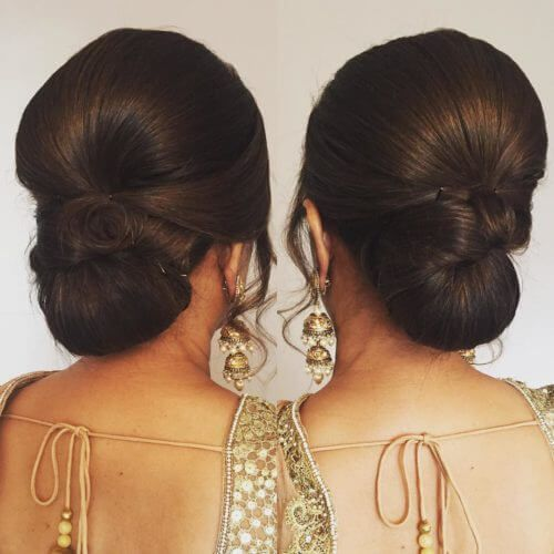12 Stunning Hair Buns And Judas To Wear With Sarees Medium Hair Styles Short Wedding Hair Womens Hairstyles