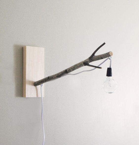 Wall Desk Lamp: sale - white birch branch pendant wall lamp/desk lamp - exposed bulb  lighting,,Lighting