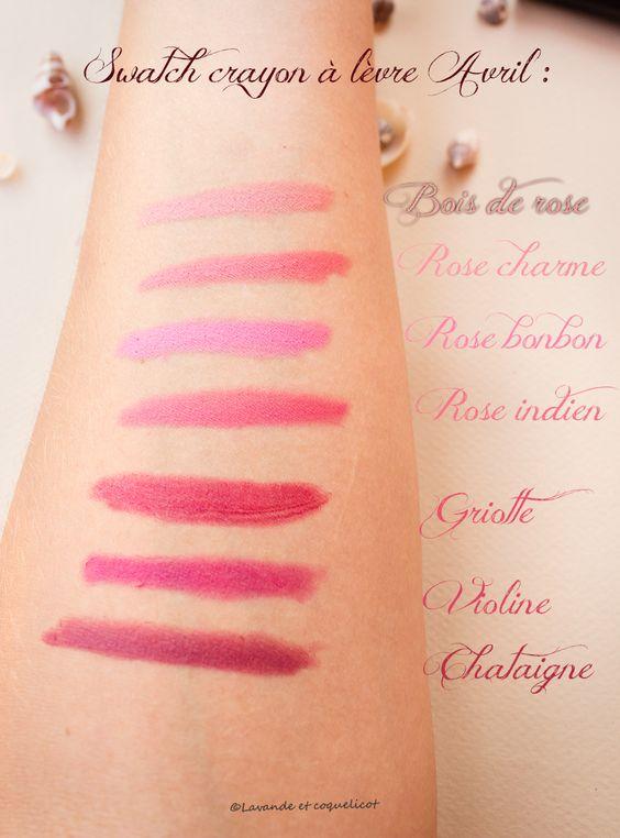 swatch crayon rougeà levre avril bois de rose rose charme rose bonbon rose indien griotte  # Rouge A Levre Bois De Rose