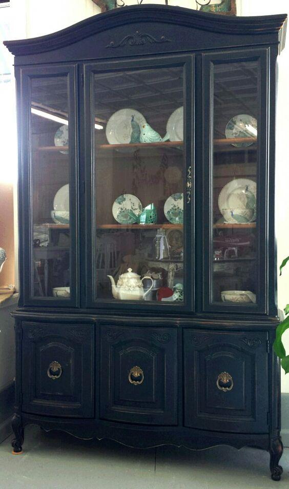 barn black distressed edges original hardware lighted cabinet