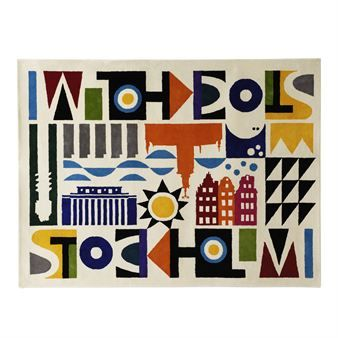 This exclusive hand tufted carpet in wool is designed by Maria Dahlgren and has an art deco inspired pattern depicting Stockholm buildings and surroundings.