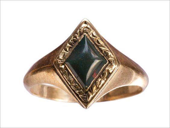 1880s Victorian Diamond-Shaped Bloodstone Ring