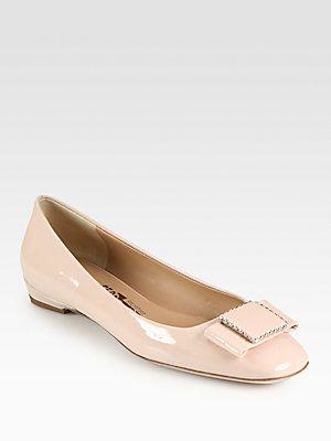 Salvatore Ferragamo Selia Patent Leather Bow Ballet Flats