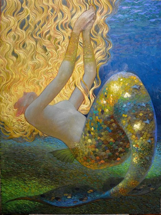 Mermaid by Victor Nizovtsev Love nearly all the mermaid art but this particular artist has so much imagination, color treatments.  Wow!