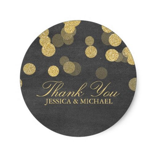 Chalkboard Gold Glitter Thank You Sticker