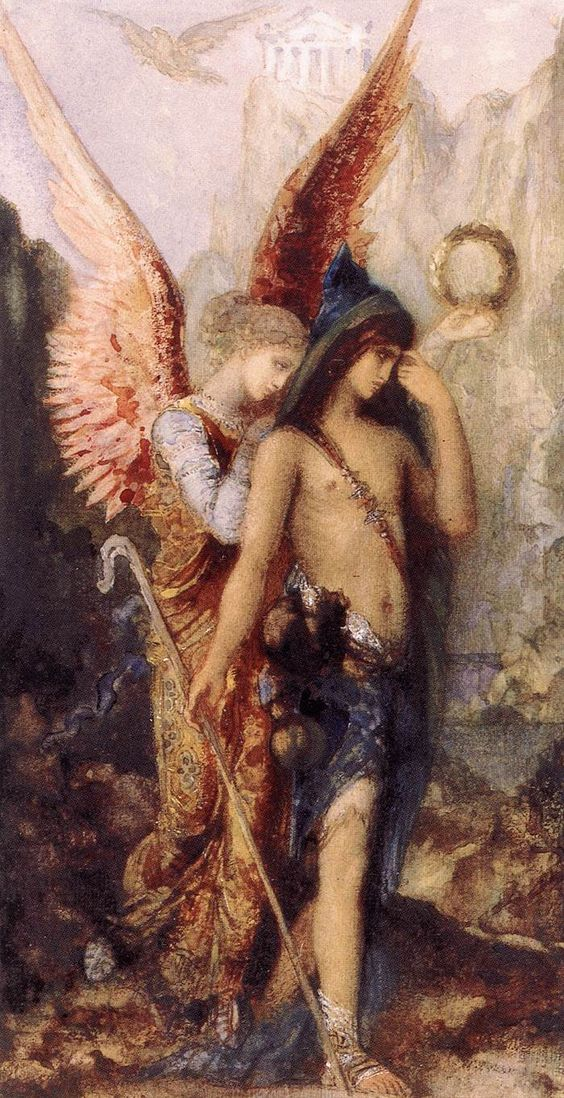 MOREAU, Gustave  [French Symbolist Painter, 1826-1898]  The Voices  1867  Watecolour and gouache on paper, 220 x 115 mm  Museo Thyssen-Bornemisza, Madrid