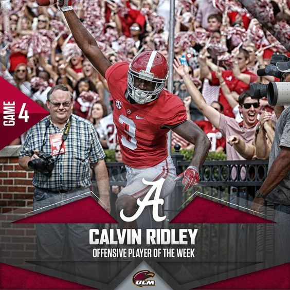 """Calvin Ridley. Offensive Player of the Week. #ULMvsBama #RollTide"""