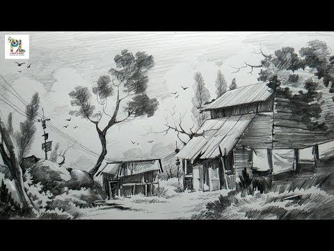 How To Sketch And Shade A Landscape Art With Easy Pencil Strokes Step By Step Youtube Landscape Drawing Tutorial Pencil Sketches Landscape Landscape Art